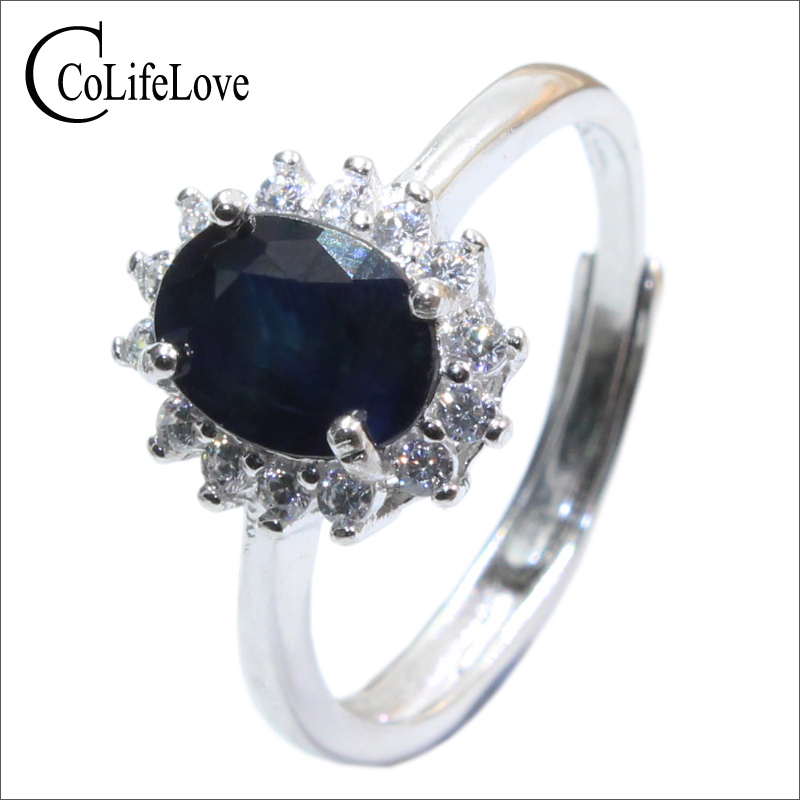 Real sapphire silver ring 6 mm * 8 mm natural black sapphire ring for lady solid 925 sterling silver sapphire ring romantic gift цены онлайн