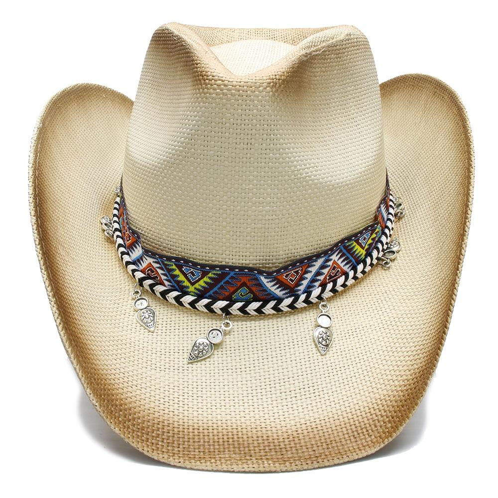 Summer Straw Beach Wide Brim Cowboy Hat  3