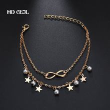 European and American Fashion Bohemian Retro Personality Tassel Stars Ankle Bracelet Female Simple Charm Sexy