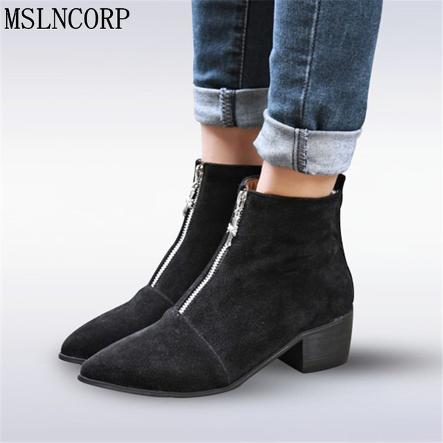 f3ad9ecba134 Size 34-48 Women Ankle Boots Black Low Heels Zipper Handmade High Quality  Pointed Toe Shoes Woman Ladies Riding Equestrian Boots