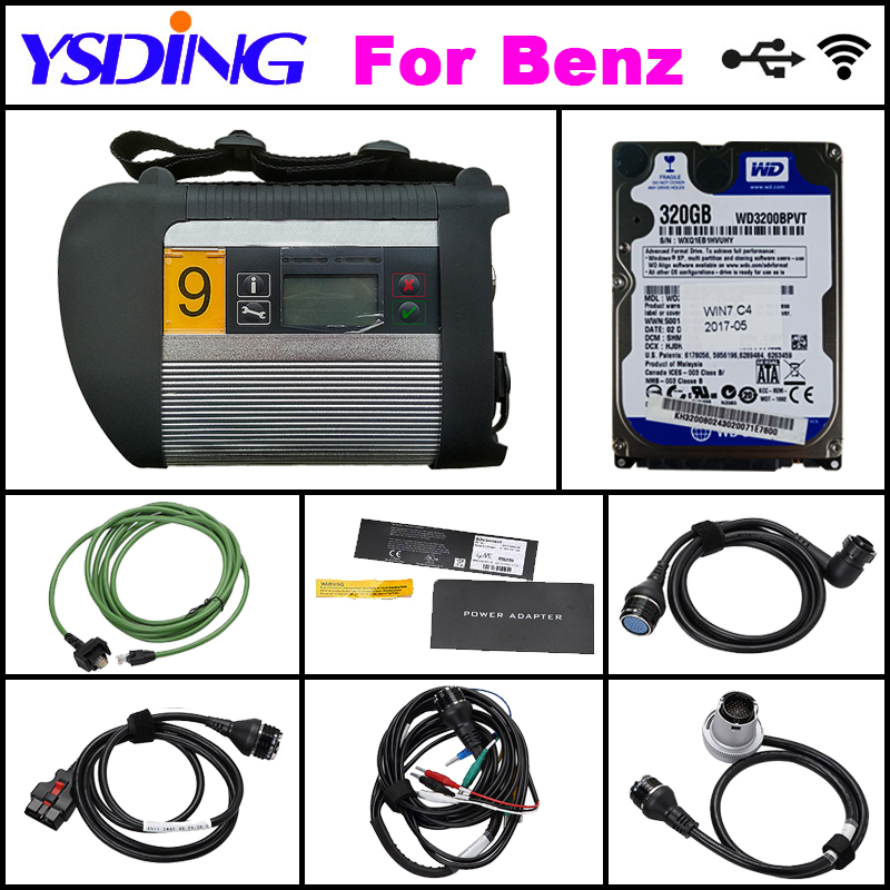 A+++ Quality Full Chip MB STAR C4 with HDD MB SD Connect Compact 4 Diagnostic Tool with WIFI Function for 12V&24V DHL Free