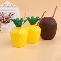 10Pcs/Lot Plastic Fruit Pineapple Coconut Drinking Cup &Straw Hawaii Luau Birthday Summer Beach Party Decor