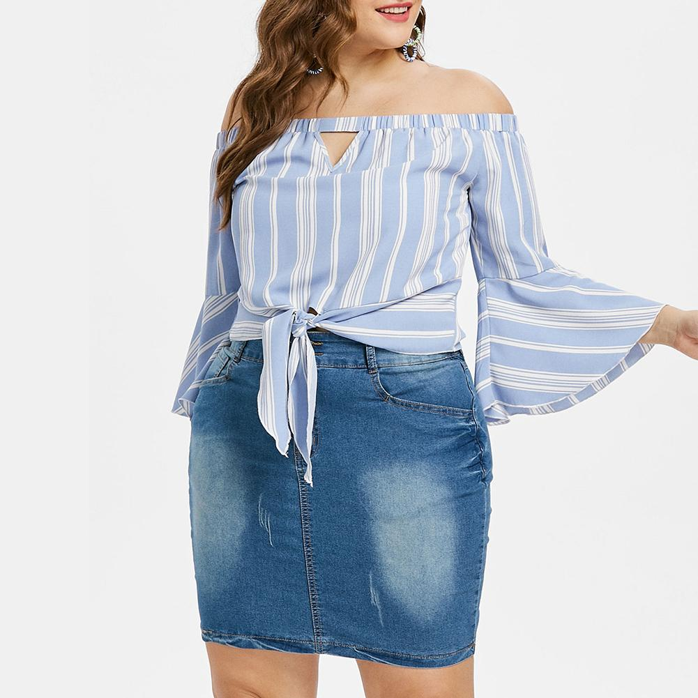 2018 Plus Size Women Sexy Blouses Slash Neck Off Shoulder Bow Long Sleeve Casual Tops Shirts Blue White Striped Party Blusas