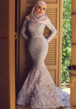 Long Sleeve Mermaid Lace Blue Wedding Dress Muslin Islamic Wedding Dresses With Hijab Robe De Marige Musulmane