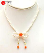 Qingmos ожерелье из натурального жемчуга для женщин с 5 6 мм