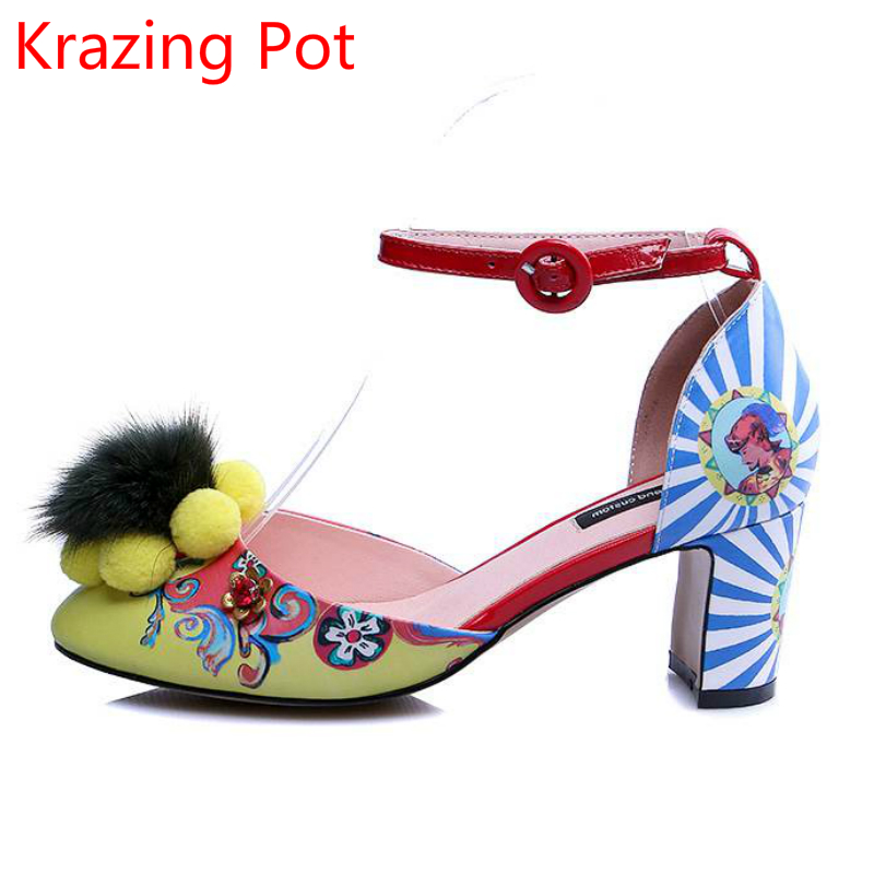 Mixed Colors Flowers Printing Brand Autumn Shoe Shallow Thick High Heels Party Wedding Large Size Luxury Ankle Strap Sandals L36 цены онлайн