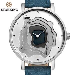 Image 2 - STARKING Brand Retro Vintage Type WristWatch Blue Leather High Quality Earth Conception Simplicity Watch Quartz Relogio Feminino