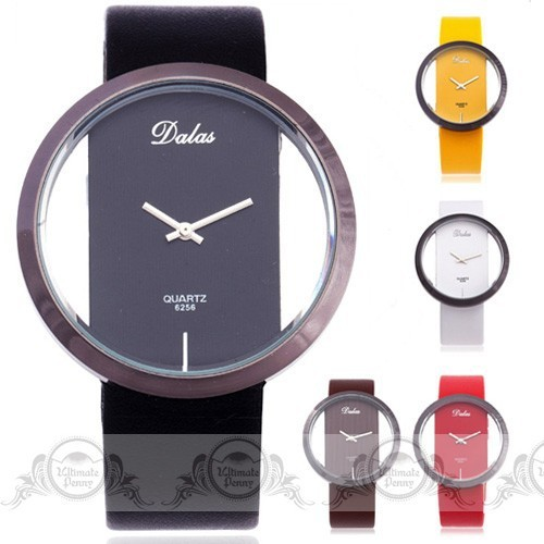 Dalas Fashion Ladies Quartz Watches Unique No Dial Rim Case Pu Leather Strap Men