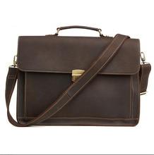 Купить с кэшбэком Vintage Cowhide Genuine Leather Handmade Crazy Horse Business Briefcase 15.6 Inch Laptop Men's Handbags Crossbody Messenger Bags
