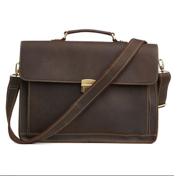 Vintage Fashion Brand Designer Crazy Horse Leather Men Handbags 15