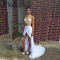 Sexy Silt Frente Blanco Y Oro 2 Unidades Vestidos de Baile 2016 larga de Cuello Alto Elegante Recta de Dos Piezas de Vestido de Fiesta Vestidos Para Ocasiones