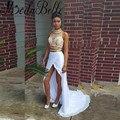 Sexy Silt Frente Branco E Dourado 2 Peça de Vestidos de Baile 2016 longas De Alta Pescoço Elegante Duas Peças Em Linha Reta Vestido de Festa Vestidos de Ocasião