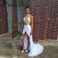 Sexy Silt Front White And Gold  2 Piece Prom Dresses 2016 Long High Neck Elegant Straight Two Piece Gown Party Occasion Dresses