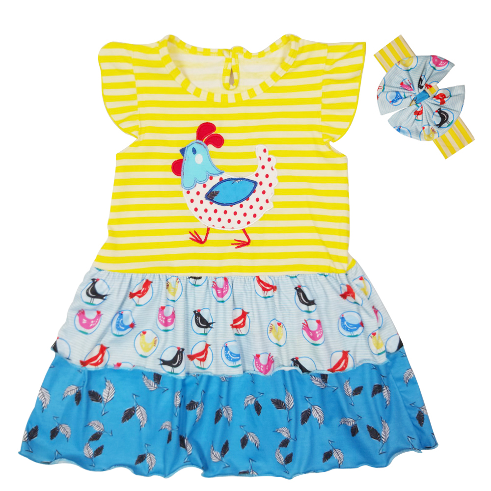 Girl Dress Summer Ruffles Dresses Chick Pattern Embroidery Dress Children Popula Clothing Kids ClothesLYQ801-033