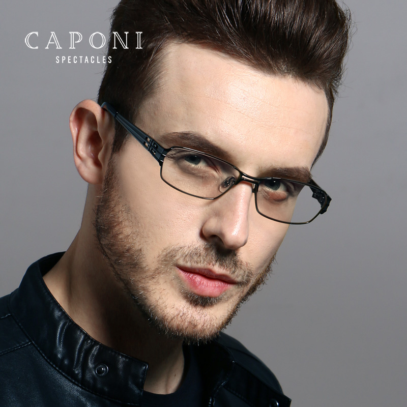 Caponi Pure Titanium Frame Men Anti Blue Ray Radiation For Computer Eyeglasses Work Home Gaming Eye Protect From Ray 1172