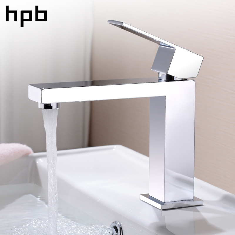 HPB Basin Faucet Bathroom Sink Mixer Tap Single Handle Hot And Cold Water Deck Mounted Faucet Brass Chrome Finished HP3037