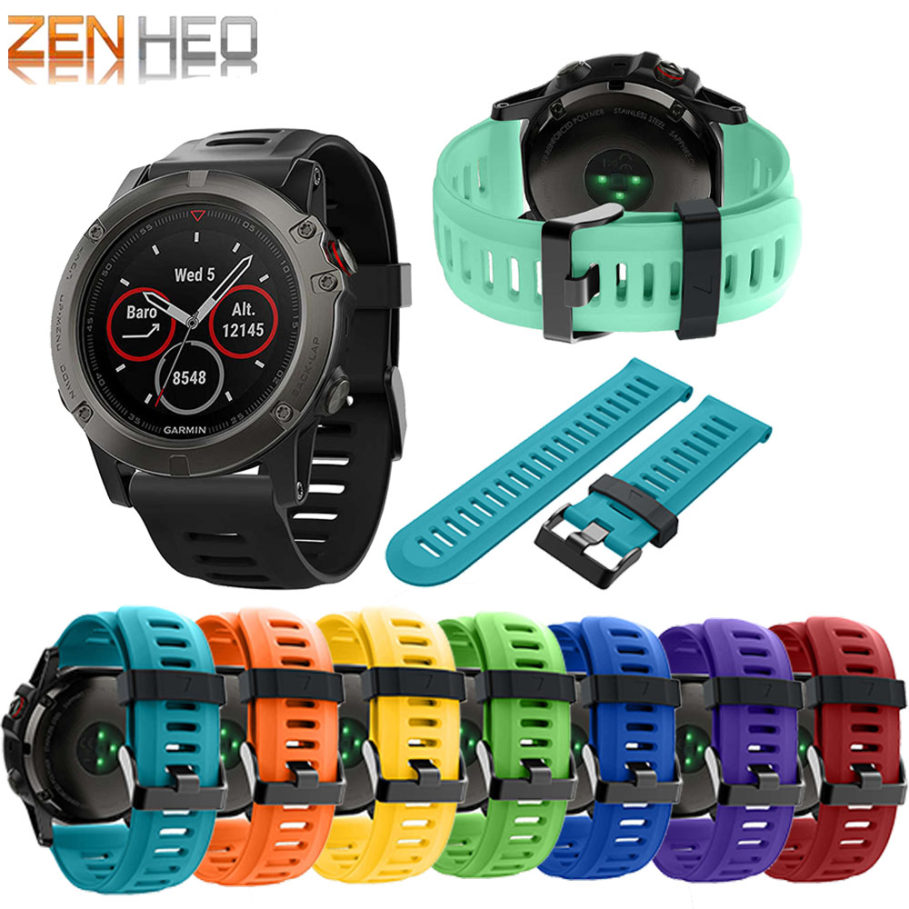 Watch-Band Wrist-Watch Replacement Garmin Fenix 3-Strap 5x-Plus/3hr Soft-Silicone