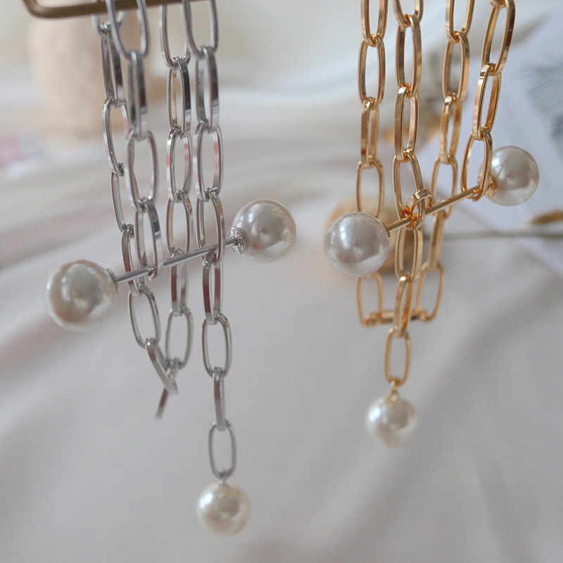 JCYMONG luksusowe projekt symulowane perły Choker naszyjnik kobiet złoto srebro kolor metalu łańcuch wisiorek naszyjnik dla kobiet biżuteria