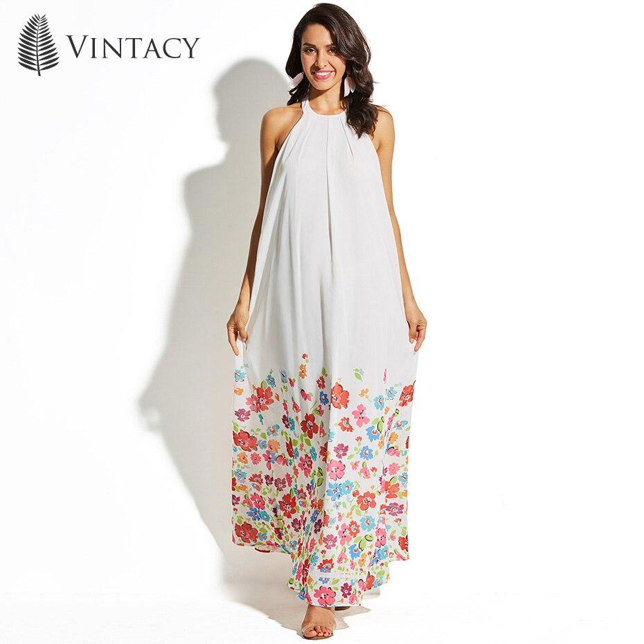 Vintacy Summer Beach Long Dress Women Sexy Halter Cold Shoulder Backless Maxi Dresses Plus Size White Belt Floral Print Dress