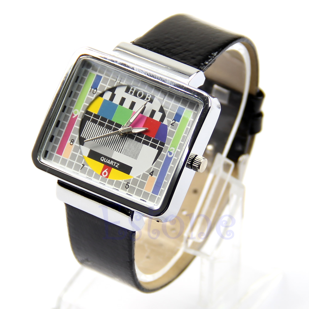 1Pc Screen Square Wrist Watch Cool TV Test Quartz Leatherette Band Unisex Watch New