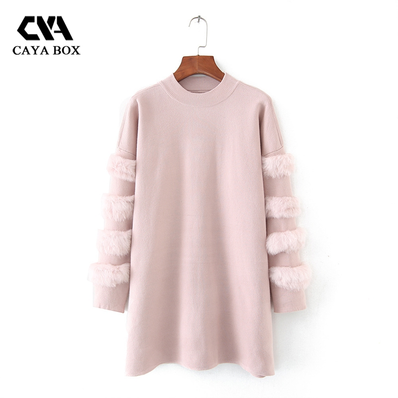 CAYA BOX 2017 Autumn Long Sleeves sweater dress Rabbit Fur Jumpers Pull Women long Sweaters And Pullovers Clothing Femme dress