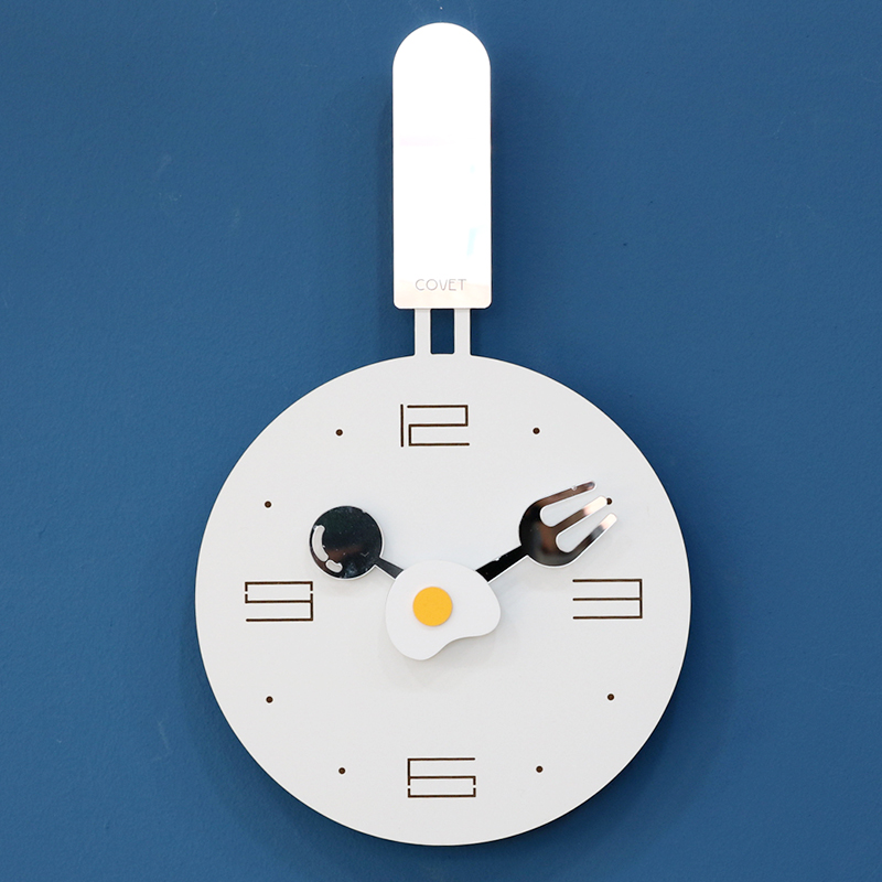24*39Cm Children'S Room Cartoon Wall Clock Fried Eggs Pan Shaped Clock Creative Fried Eggs Pot