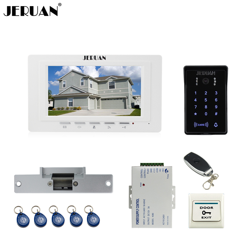JERUAN 7`` LCD Video Intercom Video Door Phone System brand new RFID Access Waterproof Touch key Camera+Remote control Unlocked jeruan luxury 7 lcd video doorphone intercom system 2 monitor rfid waterproof touch key password keypad camera remote control