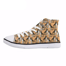 NOISYDESIGNS Collie/Pitbull Print High Top Vulcanize Shoes Men Fashion Lace Up Sneakers Boys Teenagers Spring Canvas Shoes Flats