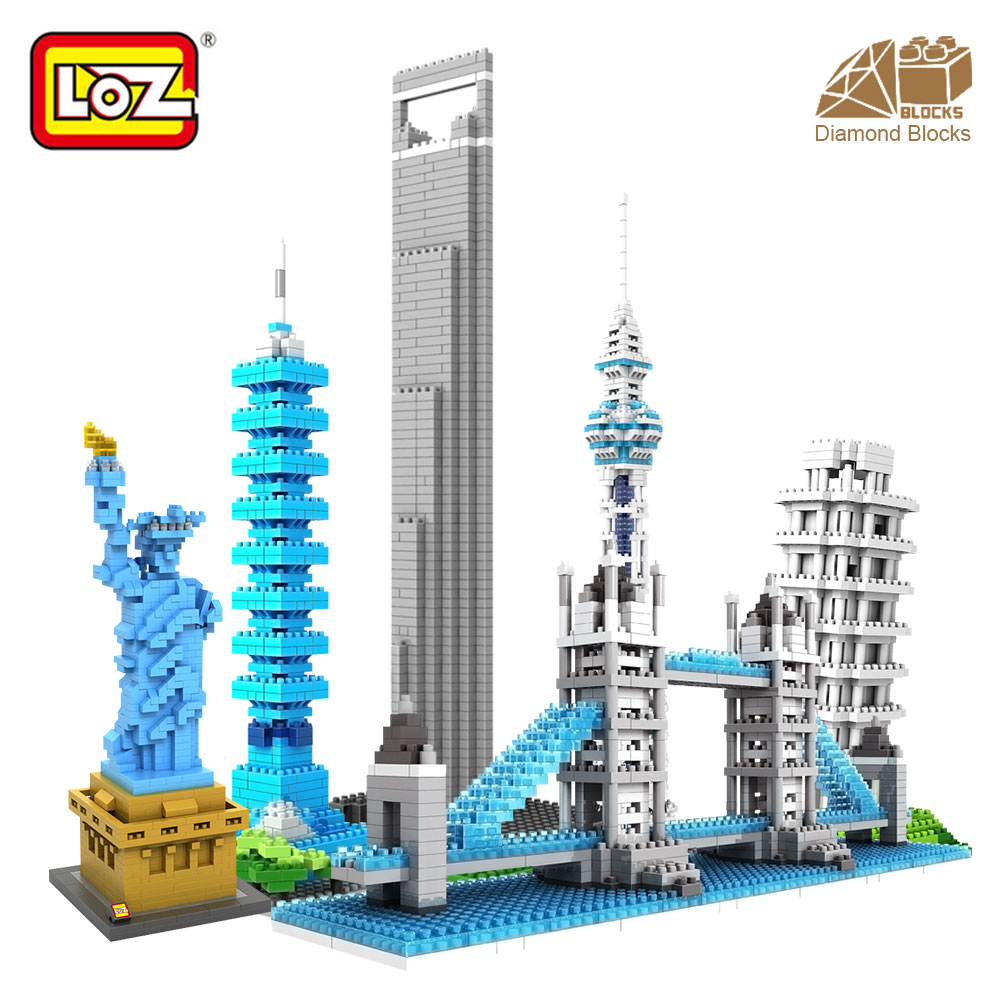 все цены на LOZ Architecture Famous Architecture Building Block Toys Diamond Blocks Diy Building Mini Micro Blocks Tower House Brick Street онлайн