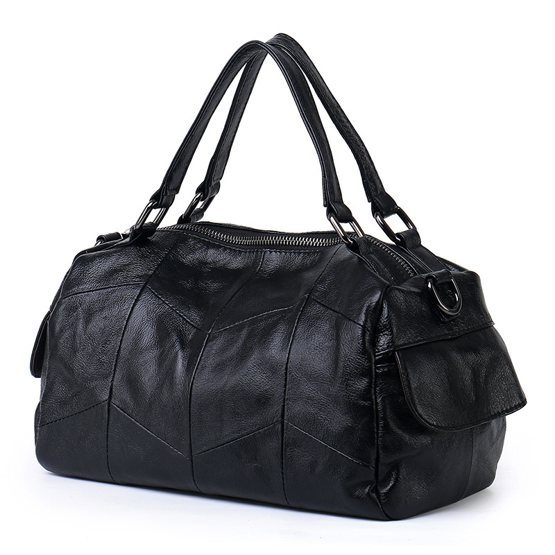 Womens new wild leather stitching handbag Tide pillow type first layer cowhide large capacity shoulder bagWomens new wild leather stitching handbag Tide pillow type first layer cowhide large capacity shoulder bag