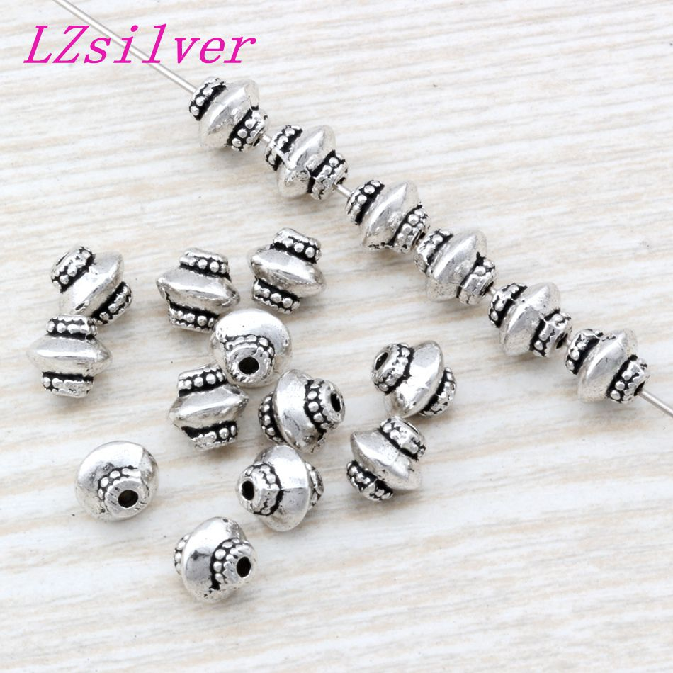 300 Pcs Antique Silver zinc alloy Beaded Spacers Bead 6.5 x7 x6.5mm DIY Jewelry D08