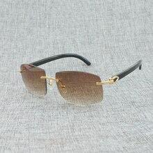 Natural Wood Oversize Sunglasses Men Black White Buffalo Horn Eyeglasses Rimless Wooden Eyewear for Outdoor Oculos Shades 705