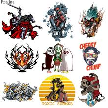 Prajña Fire Dragon Skull Ghost Hot Vinyl Transfers Rock Strijken Patches Zombie Alcoholische Snake & Punk Hoofd Gedrukt Sticker Shirt(China)