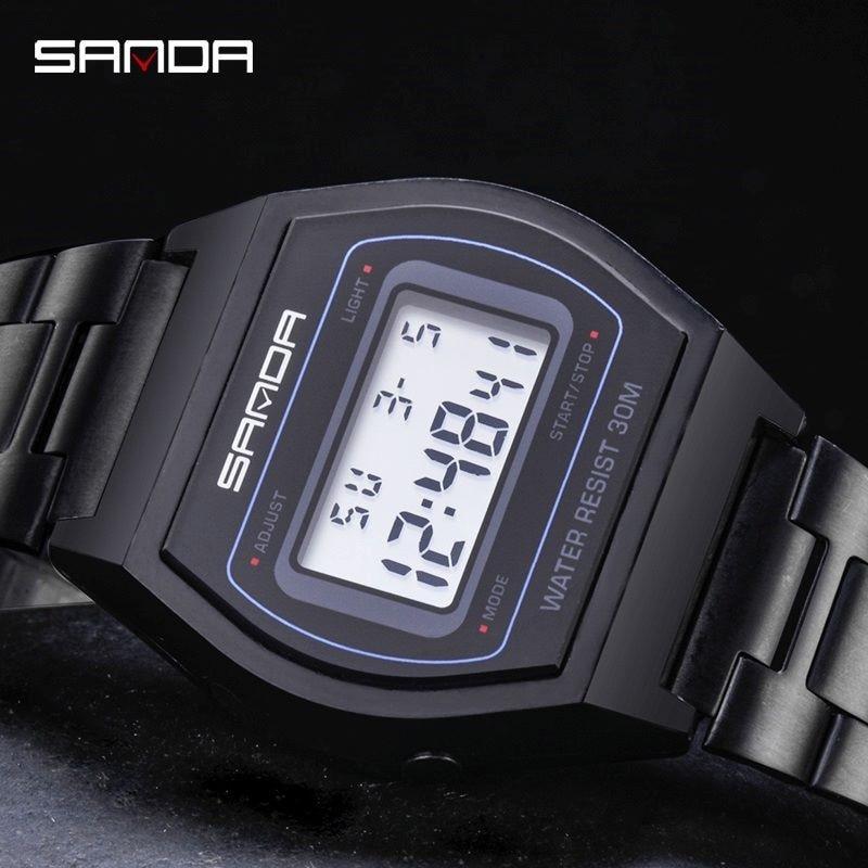 Digital Watches Clock Bracelet Stainless-Steel SANDA Men Fashion Relogio Masculino LED