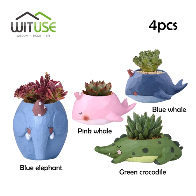 Wituse 4pcs Kawaii Creative Resin Flower Pot Animal Planter Garden Succoulent Plant Bonsai