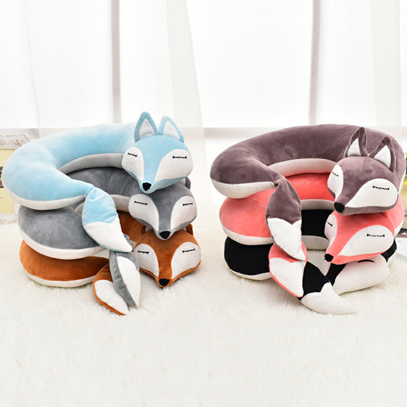 HOT Adorable Animal U Shape Pillow Soft Cartoon Foxes Neck Pillow For Office Travel TI99