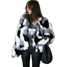 Women Warm Causal Fake Fur Jacket Coat Outerwear Hairy Shaggy Black White Stripe Contrast Color Furry Faux Fox Fur Winter Coat