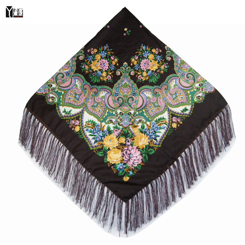 2019 Winter New Fashion women's tassel   Scarf   Square Floral Printed Brand shawls Female   Scarf   women cotton   scarves     wraps   120-2
