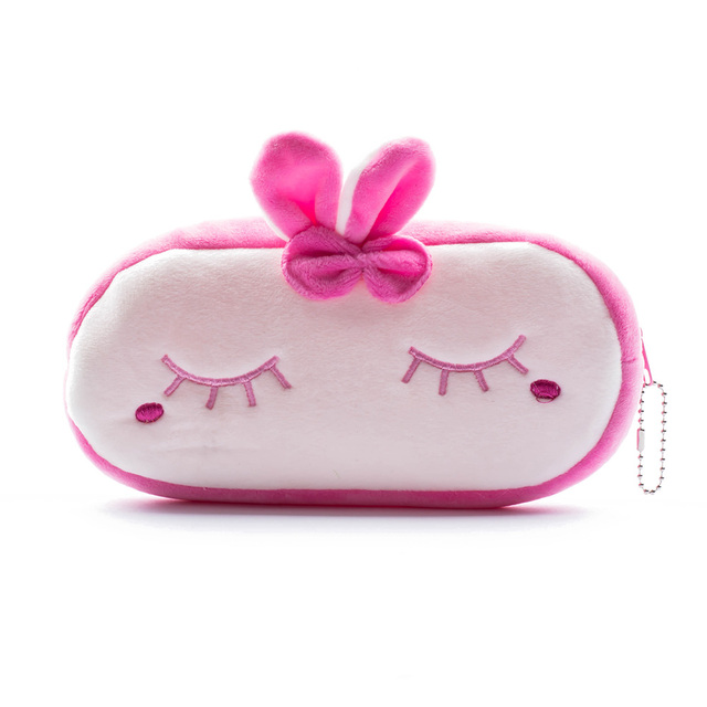 Cute Cartoon Animal Pencil Pen Case Soft Plush Makeup Cosmetic Pouch Bag Zipper Cosmetic Bags