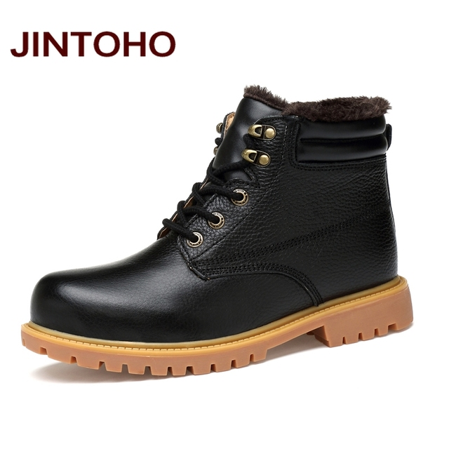 JINTOHO Large Size Black Shoes High Quality Genuine Leather Men Ankle Boots