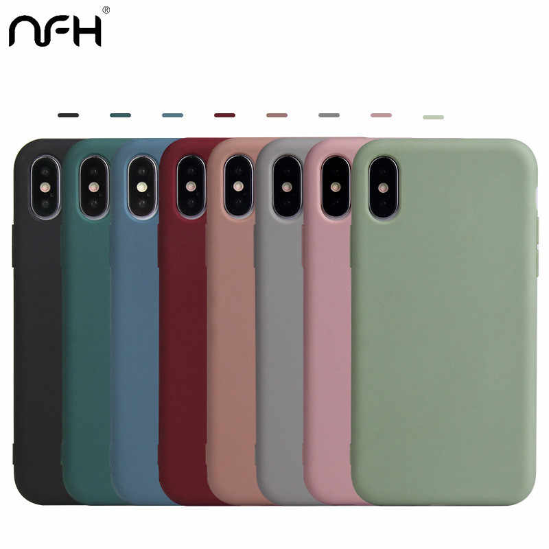 Funda de teléfono Color caramelo para Iphone 7 8 Plus mate funda sólida para iPhone X XR Xs iPhone11 Pro Max funda de silicona suave TPU