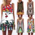 2016 Summer Playa de Las Mujeres Boho Vestido Vintage Digital Print Partido Mini Vestidos Al Por Mayor
