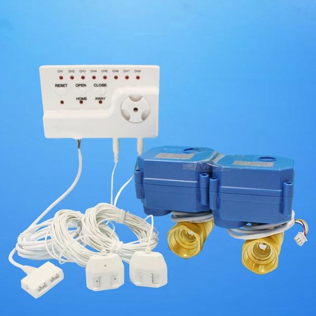 HIDAKA Wired Water Leak Detection Alarm Device Security Sensor with Voice Recording EUR Adaptor DN15 *2 Ball Valve (1/2'' *2pcs)