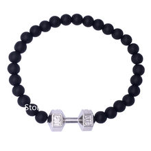 DOUBLE NOSE 10 pcs/lot Top Selling Rhodium Plated Alloy Fashion Fitness Inpsire LIVE FIT Dumbbell Beads Bracelets(China)