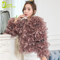 Fashion Autumn Winter Patchwork Women Ostrich Feather Fur Coats Short Real Fur Coat Genuine Natural Ostrich Fur Jackets
