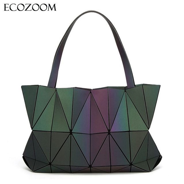 Women Luminous Messenger Bag Big Diamond Tote Geometry Quilted Package Shoulder  Bags Saser Plain Folding Handbag Hologram Laser 0728dd65c2d7e