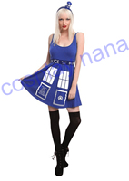 DOCTOR WHO HER UNIVERSE TARDIS Cosplay COSTUME DRESS Police Telephone Slim Blue Dress Halloween Costumes For