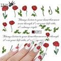Tracy Simple Nail 1 unids DIY Red Rose Sticker Calcomanías Decoración de Uñas Diseños de Uñas de Transferencia de Agua Tatuajes Herramientas A391