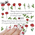 Tracy Simple Nail 1pcs DIY Red Rose Nail Designs Water Transfer Sticker Decals Nail Art Decorations Tattoos Tools A391