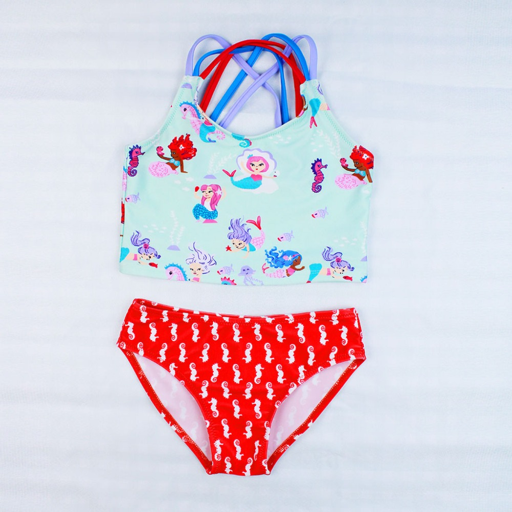 Bikini 2019 Child Girls Cartoon Mermaid Two Pieces Suit Swimwear Kids Marine Life Beachwear Bathing Suit Pool Swimsuit S91026X
